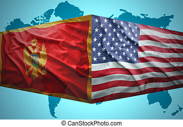 Waving Montenegrin and American flags of the political map...