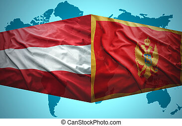 Waving Montenegrin and Austrian flags of the political map...