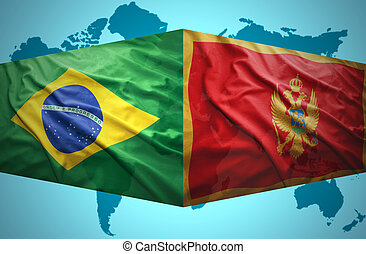 Waving Montenegrin and Brazilian flags of the political map...