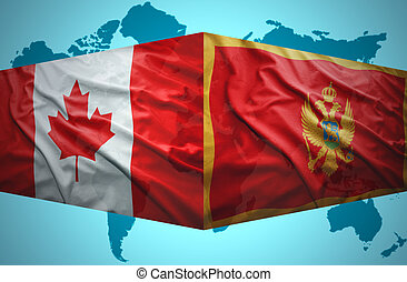 Waving Montenegrin and Canadian flags of the political map...