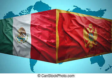 Waving Montenegrin and Mexican flags of the political map of...