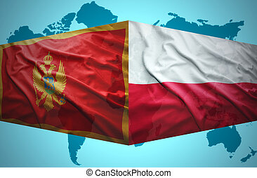 Waving Montenegrin and Polish flags of the political map of...