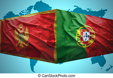 Waving Montenegrin and Portuguese flags of the political map...