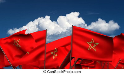 Waving Moroccan Flags (seamless & alpha channel)