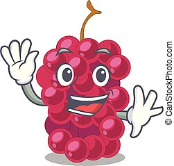 Waving mulberry in the character fruit basket vector...