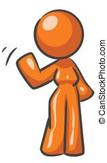 waving, mulher, desenho, mascote