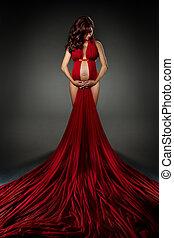 waving, mulher olha, baixo., excitado, vestido, vermelho