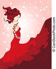 waving, mulher, vestido, jovem, vermelho