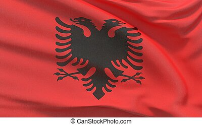 Waving national flag of Albania. Waved highly detailed close-up 3D render.