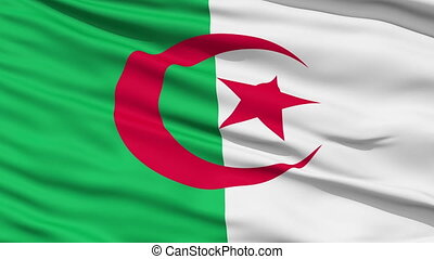 Waving national flag of Algeria - Closeup cropped view of a...