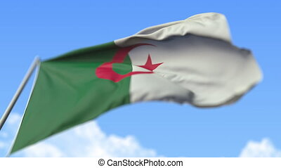 Waving national flag of Algeria, low angle view. Loopable realistic slow motion 3D animation
