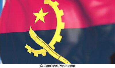 Waving national flag of Angola close-up, loopable 3D animation