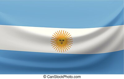 Waving national flag of Argentina. Vector illustration