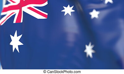 Waving national flag of Australia close-up, 3D rendering