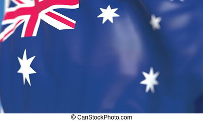 Waving national flag of Australia close-up, loopable 3D animation