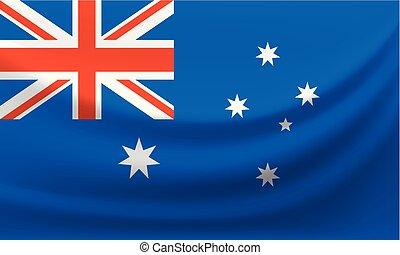 Waving national flag of Australia. Vector illustration