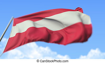 Waving national flag of Austria, low angle view. 3D rendering