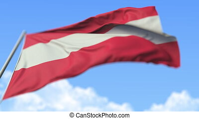 Waving national flag of Austria, low angle view. Loopable realistic slow motion 3D animation