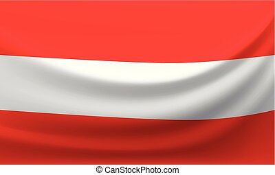 Waving national flag of Austria. Vector illustration