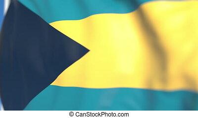 Waving national flag of Bahamas close-up, loopable 3D animation