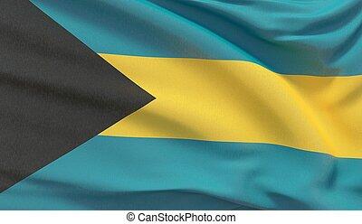 Waving national flag of Bahamas. Waved highly detailed close-up 3D render.