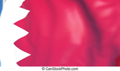 Waving national flag of Bahrain close-up, loopable 3D animation