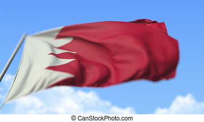 Waving national flag of Bahrain, low angle view. Loopable realistic slow motion 3D animation