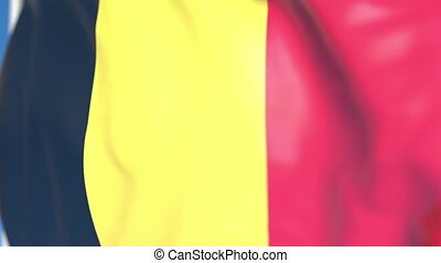 Waving national flag of Belgium close-up, loopable 3D animation