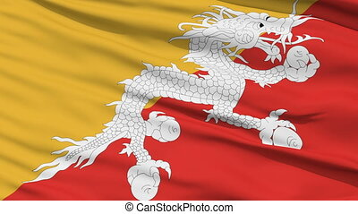 Waving national flag of Bhutan - Closeup cropped view of a...