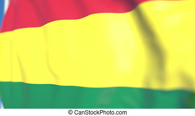 Waving national flag of Bolivia close-up, loopable 3D animation