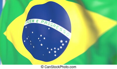 Waving national flag of Brazil close-up, loopable 3D animation