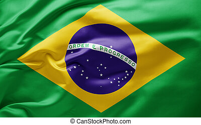 Waving national flag of Brazil