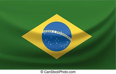 Waving national flag of Brazil. Vector illustration