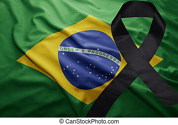 flag of brazil with black mourning ribbon