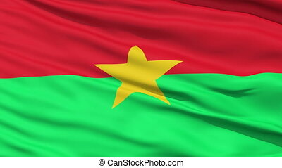 Closeup cropped view of a fluttering national flag of Burkina Faso