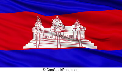 Waving national flag of Cambodia - Closeup cropped view of a...