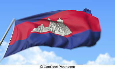 Waving national flag of Cambodia, low angle view. 3D rendering
