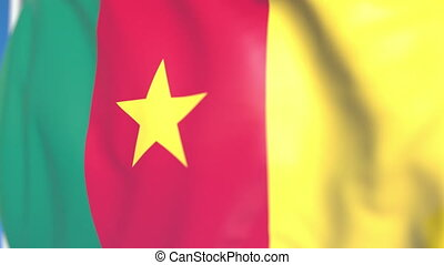 Waving national flag of Cameroon close-up, loopable 3D animation