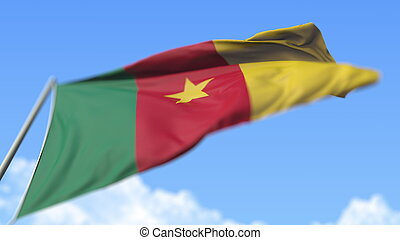 Waving national flag of Cameroon, low angle view. 3D rendering