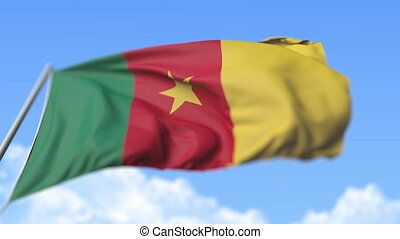 Waving national flag of Cameroon, low angle view. Loopable realistic slow motion 3D animation