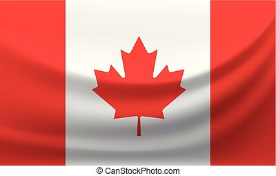 Waving national flag of Canada. Vector illustration