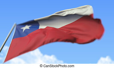 Waving national flag of Chile, low angle view. 3D rendering