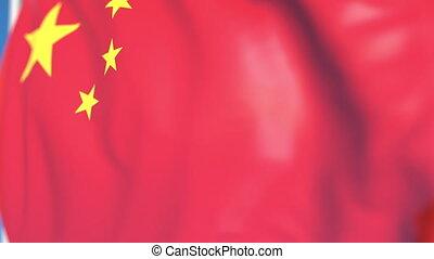 Waving national flag of China close-up, loopable 3D animation