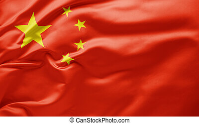 Waving national flag of China