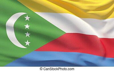 Waving national flag of Comoros. Waved highly detailed close-up 3D render.