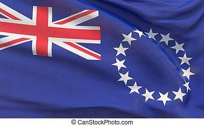 Waving national flag of Cook Islands. Waved highly detailed close-up 3D render.