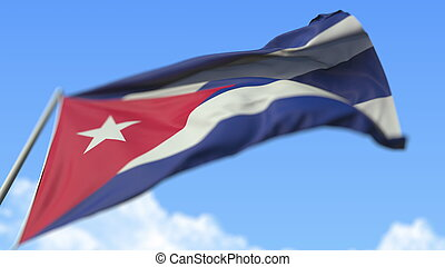Waving national flag of Cuba, low angle view. 3D rendering