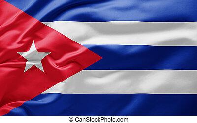 Waving national flag of Cuba