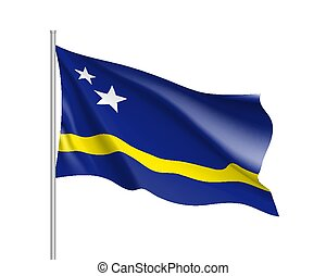 Waving national flag of Curacao island