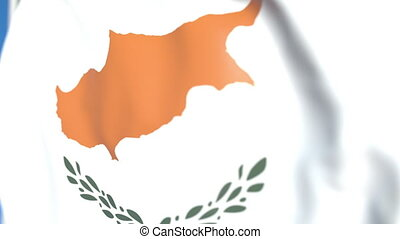 Waving national flag of Cyprus close-up, loopable 3D animation